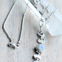 Rainbow Moonstone Moon Phase Necklace, Solid 925 Sterling Silver Moon Necklace,  Boho Jewelry, Bohemian, Gypsy Lovin Light, Fashion Jewelry