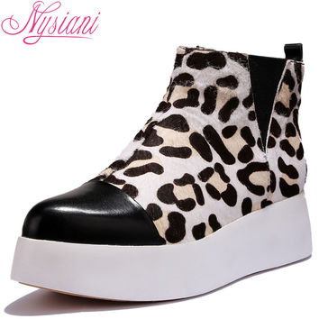 Nysiani Women Thick Sole Muffin Shoes Mixed Color Pointed Toe Ankle Boots 2016 New Fashion Leopard Print Casual Warm Boots Shoes