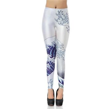 The Great Wave Women's White & Blue Slim High Waisted Elastic Printed Fitness Workout Leggings