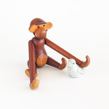 Wooden Articulated Monkey Figurine