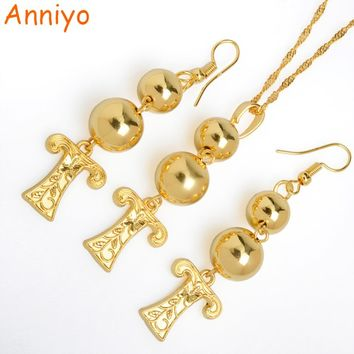 Anniyo (T-Z) Letters Bead Pendant & Earrings Gold Color Initial Chain for Women,Ball Necklace English Letter Jewelry #069206(7)