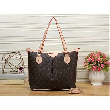 LV Trending Women Stylish Monogram Leather Handbag Tote Satchel Shoulder Bag Coffee LV Print I-KR-PJ