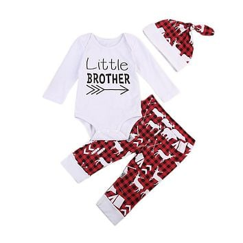 Baby Boys Girl Clothes Deer Printed Long Sleeve T-shirt Pants Hat New Infant Clothing 3pcs Set Newborn Baby Boy Clothes