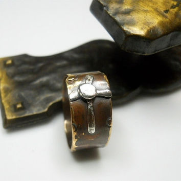 Distressed Cross Ring Sterling Silver on Brass by patinaware