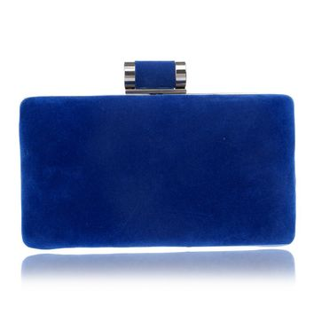 Velvet Multi-Color Shoulder Chain Option Evening Clutch