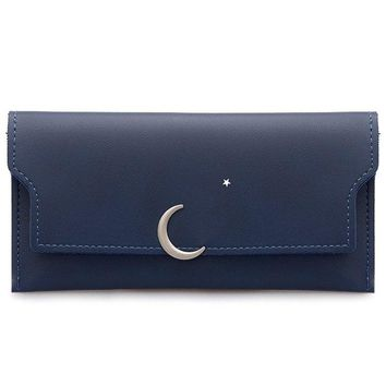 Snap Closure PU Leather Long Wallet