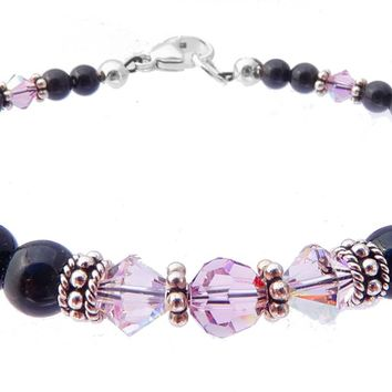 Black Pearl Jewelry: Bracelets w/ Simulated  Purple Alexandrite Accents in Swarovski Crystal Birthstone Colors