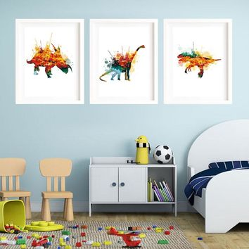 Watercolor Dinosaur Art Print Canvas Art Print Poster Paintings No Frame Office Wall Pictures Home Decor Colorful Kids Art