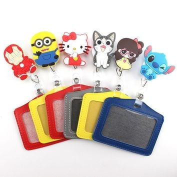 lovely Cartoon Animals Retractable Badge Reel Student Nurse Horizontal type Exihibiton ID Name Card Badge Holder Office Supplies