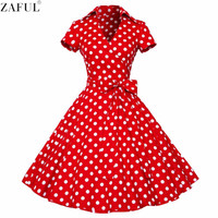 ZAFUL Woman Retro Dresses 2017 Audrey Hepburn 1950s 60s Rockabilly Polka Dot Bow Pinup Ball Grown Party Robe Plus Size Vestidos