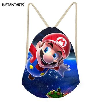 Super Mario party nes switch INSTANTARTS 3D  Printing Sport Gym Bag Outdoor Kids Children String Backpack Polyster Drawstring Bag Girls Boys Sack AT_80_8