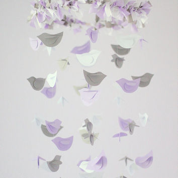 Lavender, Gray & White Bird Mobile, Nursery Decor, Baby Girl Shower GIft, Wedding Decor