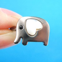 Elephant Adjustable Animal Ring in Dark Silver with Heart Shaped Ears