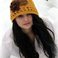 Crochet Hat Mustard Yellow Winter Accessories Winter Fashion Teens Womens hats