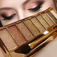 Hot Brand Cosmetics Makeup Pallette Diamond Eyeshadow Set With Brush Shimmer Powder New 9 Colors  Eyes Smoky Maquillaje