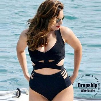 3XL Black Women Bikini Set Sexy Push up Bikinis Summer Cross Swimsuit Swimming Hollow Beach Swimwear Slimming Bodysuit Big Size