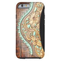 Western Style Turquoise and Tooled Leather Look