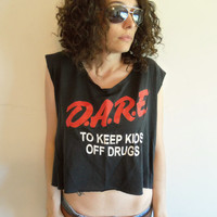 Upcycled Vintage 90s Cropped Black DARE Keep Kids Off Drugs T Shirt