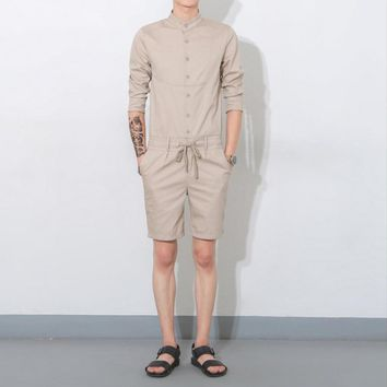 2017 Summer men jumpsuit casual three quarter sleeve fashion overalls one piece clothing set bib pants Coverall singer costumes