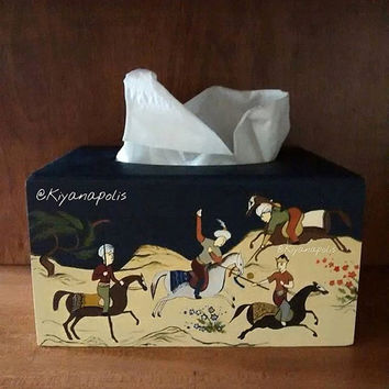 Hand Painted tissue box, Norooz gift, Acrylic Painting, wooden box, Takhte Jamshid, Iranian New Year, Iranian Art Persian New Year, iran