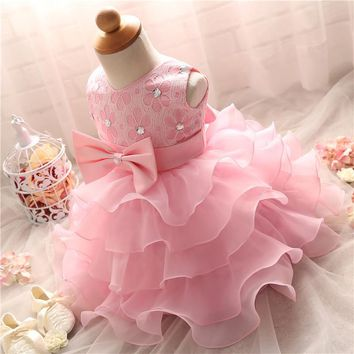 Pretty Baby Girl Fluffy Indant Christening Gowns Baby Girl 1 Year First Birthday Party Dresses For Girls Kids Vestido Infantil