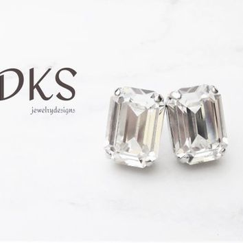 Swarovski Princess Cut Bridal Stud Earrings, 10X14 MM, DKSJewelrydesigns, FREE SHIPPING