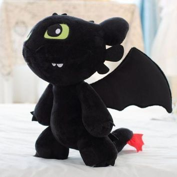 New 12 Inch How to Train Your Dragon Plush Toothless Night Fury Soft Toy Doll .