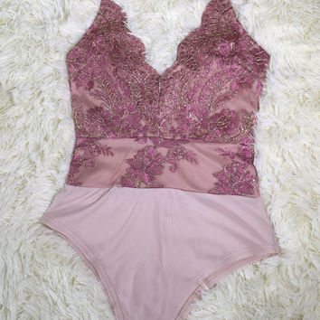 Rosy Floral Embroidered Strappy Bodysuit