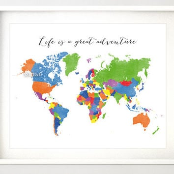 Printable world map with countries and names, typography print, adventure quote nursery map, rainbow colors, baby boy nursery art -map138