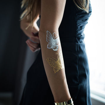 Gold & Silver Butterflies Metallic Temporary Tattoo by Myra Oh