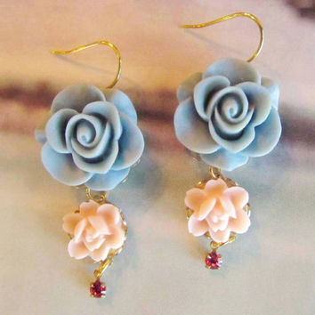 Nicole Lovely blue and Pink flower Earrings by 4TasteofShabbyChic
