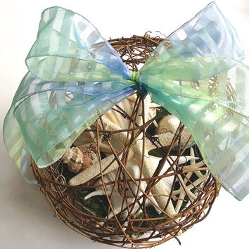 "Starfish Grapevine Pomander- XL 10"" Nautical Kissing Ball, Rustic Beach Wedding Decor, Conch Shell & Starfish, Clam, Flower Alternative"