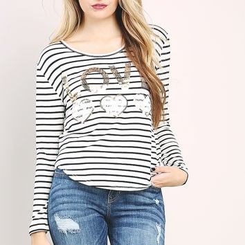 LOVE Spangle Striped Top