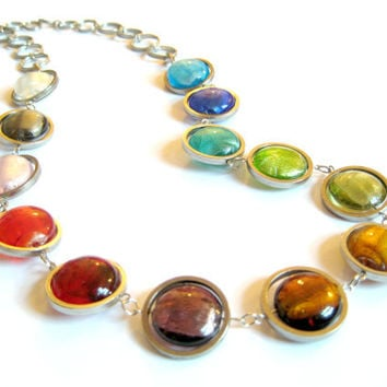 Rainbow Chunky Beaded Long Necklace. Geometric Glass and Metal Beads. Handmade Statement Necklace. Multicolor Jewelry.