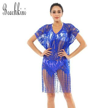 DCCK7N3 Swimwear One Piece Dress Beach Cover Up Transparent Mesh Blouse Women Dress with Tassels Loose Tops 2017 New