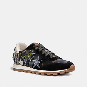 Custom Coach Runner Sneakers, Runner with Rexy Patches, Custom black Sneakers, Swarovski Sneakers,Crystals Coach shoes,Custom Bedazzled