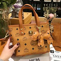 MCM high quality new fashion more letter print puppy accessories shoulder bag handbag women Brown
