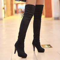 Shoes Women Boots Thigh High Boots Over The Knee Boots Platform Thick High Heels Boots Ladies Shoes Lace Up Brown Big Size 42 43