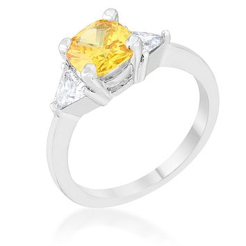 WildKlass 1.8ct Canary CZ Rhodium Plated Cushion Classic Statement Ring