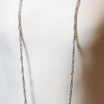 Extra Long Necklace, Silver Tone, Chain Necklace, 51 inches, Small Curb Chain, Vintage Costume Jewelry