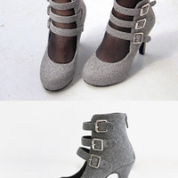 Woolen Triple Buckled Pumps - Miamasvin loves u! Womens Clothing. Korean Fashion.
