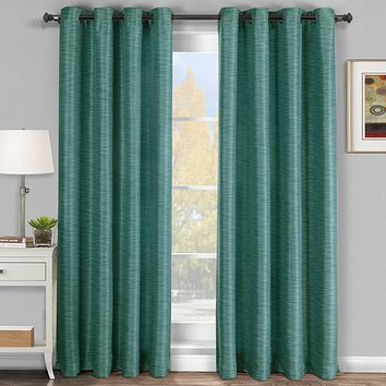 Blue 54x108 Galleria Blackout Thermal Coating Tonal Stripe Window Grommet Panel