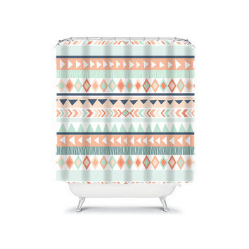 Aztec Shower Curtain Monogram Tribal Southwest Chevron Peach Aqua Navy Geometric Pattern Bathroom Bath Polyester Made in the USA