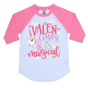 Valentines Is Magical Kids Raglan Shirt