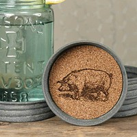 Mason Jar Lid Coaster  - Pig (Set of 4)