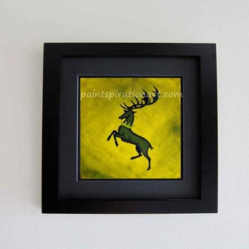 Game of Thrones Sigil Art Original Painting Prints House Baratheon Banner Wall Art Set - Crowned Stag Wall Hanging