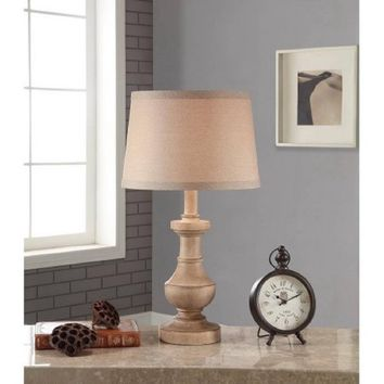 Better Homes and Gardens Rustic Table Lamp, White-Washed Wood Finish
