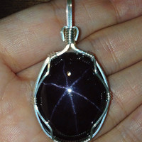Star Garnet Wire Wrapped Pendant Sterling Silver Necklace