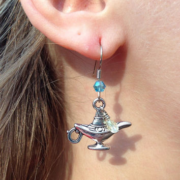 Magic Lamp With Blue And Yellow Crystal Beads Dangle Earrings Inspired By Disney's Aladdin