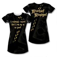 Harry Potter I Solemnly Swear. . .Mischief Managed Map Allover Print Juniors T-Shirt | HarryPotterShop.com